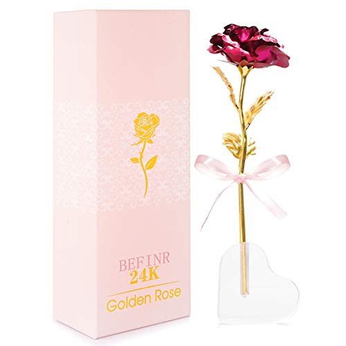 BEFINR 24K Gold Rose Artificial Forever Flowers with Heart-Shaped Stand Best Gifts for Friend Girl Wife Women Her for Valentine's Day Thanksgiving Mother's Day Birthday (Pink)