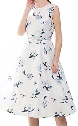 タバコ教え保安[ルナー ベリー] レディース 花柄 ベルト付き ワンピース ノースリーブ 上質 ロング ドレス 1213