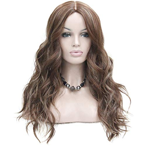 Caramel Color Highlights - Women's Ombre Wigs Synthetic Natural Long Wavy Brown/Blonde Highlights Full Wig 7 Color #CARAMEL KISS Maroon