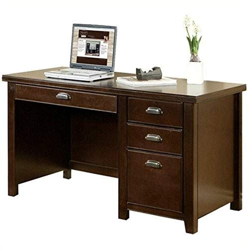 kathy ireland Home by Martin Tribeca Loft Cherry Single Pedestal Desk - Fully Assembled - Kathy Ireland Tribeca Loft