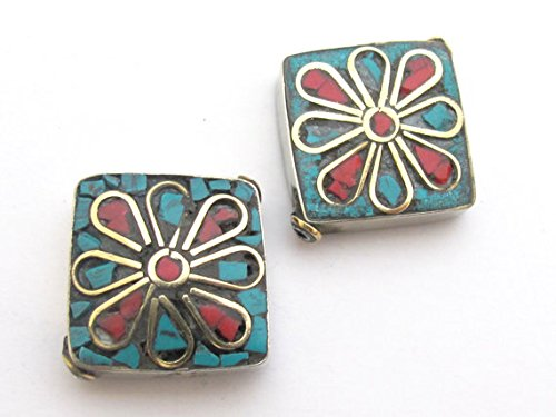 2 BEADS - Floral design Tibetan turquoise coral inlaid brass beads from Nepal - BD483A