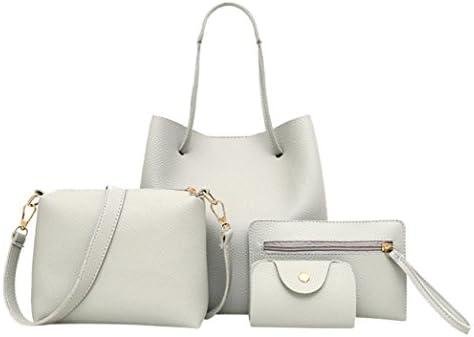 a45f23b0e1a1 Clearance Rakkiss 4Pcs Women Pattern Leather Bag Handbag+Crossbody Bag+Messenger  Bag+Card