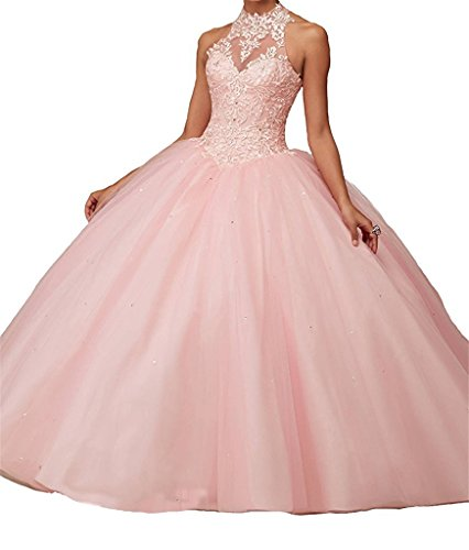charmingbridal High Neck Lace Prom Pageant Ball Gown Quinceanera Dresses Pink,14