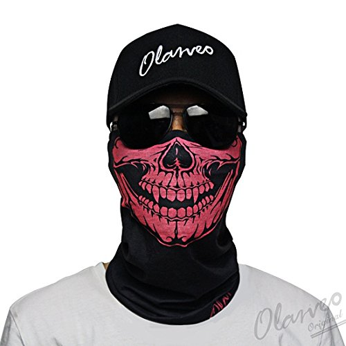 Breathable Seamless Tube Skull Face Mask half Dust-proof Windproof Motorcycle Bicycle Bike Face Mask for Hiking Camping Climbing Fishing Hunting Motorcycling Headband Scarf Headwrap Neckwarmer ()