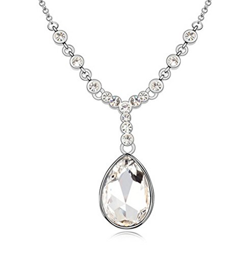Gorgeous Jewelry Swarovski Austrian Crystal Necklace White Rouge Tears Pendant White Girl Fashion Jewelry