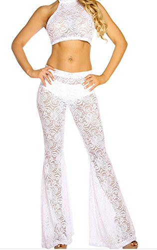 Black Friday FQHOME Womens White Lace Halter Top and Bell Bottom Pant Set Size M