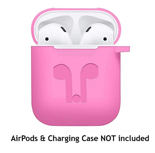 Price comparison product image for Apple AirPods,  Owill Soft Silicone Shock Proof Protective Cover Case (Hot Pink)