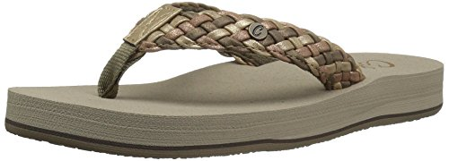 Cobian Women's Braided Bounce Flip-Flop, Gold, 8 M US