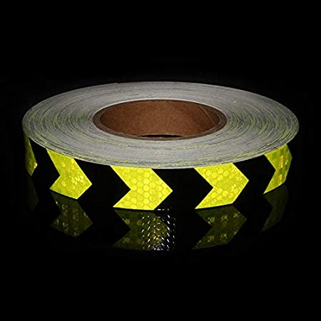 Lannmart 1 x5M Reflective Stickers Motorcycle Stripe Bicycle Safety Warning Reflective Arrow Tape Fluorescent Yellow Red Reflecting Tape