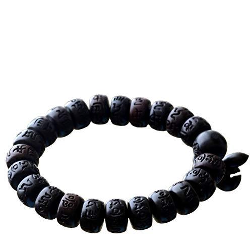 Bracelet Lightning Struck Jujube Wood Mala Prayer Feng Shui Lucky Beads Drum Diameter 10mm Black