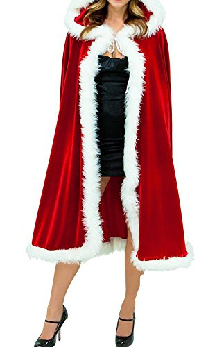 [Womens Deluxe Velvet Christmas Hooded Cape Cloak Costume Red] (Elf Outfit For Women)