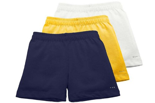 (Sparkle Farms Girls Under Uniform Shorts, 3-Pack Navy/Yellow/White, Size 7/8)