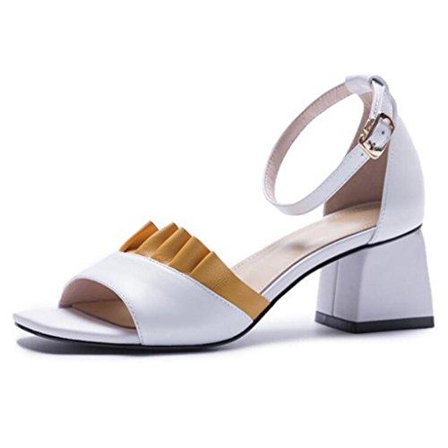 GAOLIXIA Sandalias de punta abierta de las sandalias de dedo del pie de las mujeres del cuero genuino Bombas del tobillo de la correa del tobillo del cordón dulce del verano Zapatos casuales Blanco