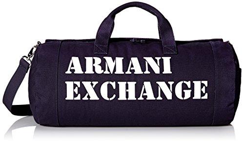 Armani Exchange Men's Large Printed Logo Canvas Duffle Weekender Gym Bag, Navy by A|X Armani Exchange