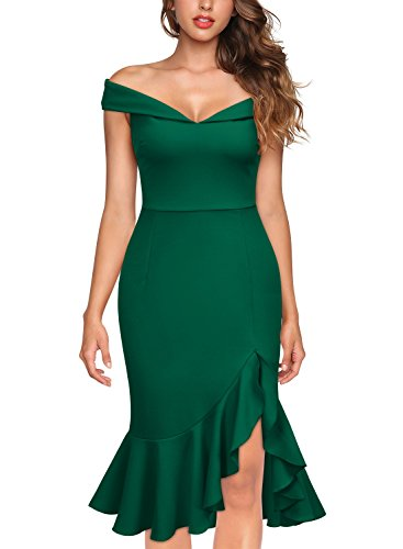 Knitee Women's Off Shoulder Elegant Slim Style Evening Party Dress,Small,Dark Green