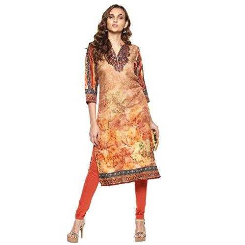 Lagi Kurtis Ethnic Women Kurta Kurti Tunic Digital Print Top Dress New Casual Wear XL, Orange (VK2070A) (Top Dress Kurta Tunic)