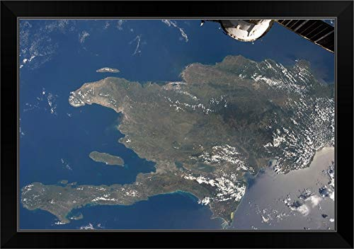 CANVAS ON DEMAND A View of The Caribbean Island of Hispaniola from The International Space Station Black Framed (View Of Earth From International Space Station)