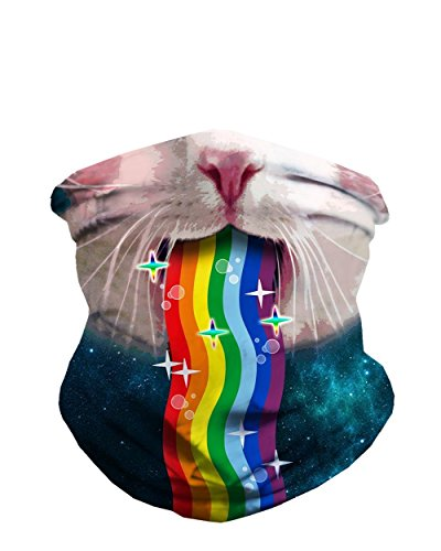 iHeartRaves Rainbow Kitty Seamless Mask Rave Festival Bandana
