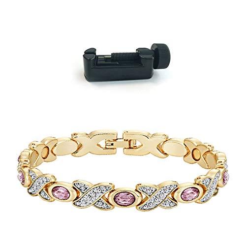 Women's Bracelets & Wristbands   2 Tones Silver Gold Color Stones Magnetic Bangles   Ladies Charm Remove Pain Bracelets ()
