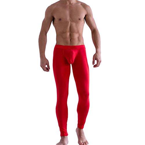 iEFiEL Herren Legging Leggin lange Unterhose Longjohns Underwear Unterwäsche mit Transparent Effekt (M, Rot)