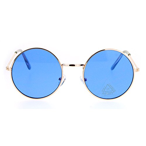 SA106 Retro Vintage Flat Color Circle Round Lens Sunglasses Gold - Lens Color Blue