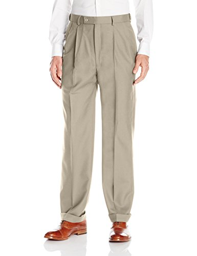 Louis Raphael LUXE Men's 100% Wool Pleated Dress Pant with Hidden Extension Waist Band, Sand, 44x30