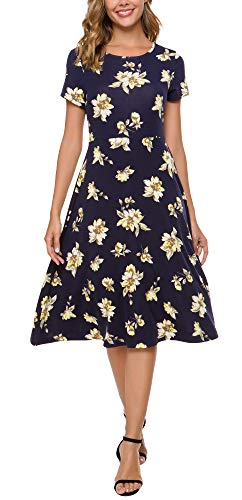 Urban CoCo Women's Floral Print Short Sleeve Flared Midi Dress (XL, 10)
