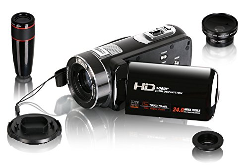 Besteker Protable HDMI 1080p 24,0 Megapixeln 120X Digital-Zoom-Video-Camcorder DV 3.0 TFT LCD Rotation Touch Screen Video Recorder mit Fernbedienung und Gesichtserkennung + 12x Tele & Weitwinkelobjektiv