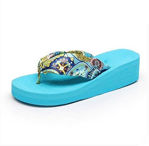 Señoras Sandalias de verano con zapatillas de espinilla espesando suelas Zapatillas de playa Zapatillas 1
