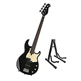 Yamaha BB434-BL BB-Series 4 String Bass Guitar, Black with Bolt-on Neck, Alder Body and Guitar Stand