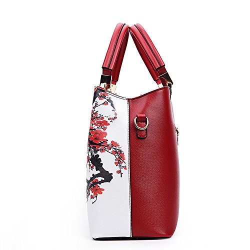 PU Women Howoo Black Crossbody Handbag Messenger Pattern Girls Bag Bag Shoulder Floral for Chinese Style d7nfRxq7r