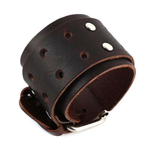 HZMAN Mens Brown Metal Belt Buckle Punk Rock Biker Wide Strap Leather - Biker Buckle