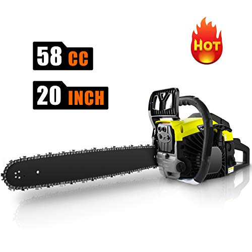 CHAKOR 58CC Chainsaw, 20″ Gas Chainsaw, 2 Strokes 3.5HP Gas Powered Chainsaw, Petrol Chain Saw for Cutting Wood with Tool Kit
