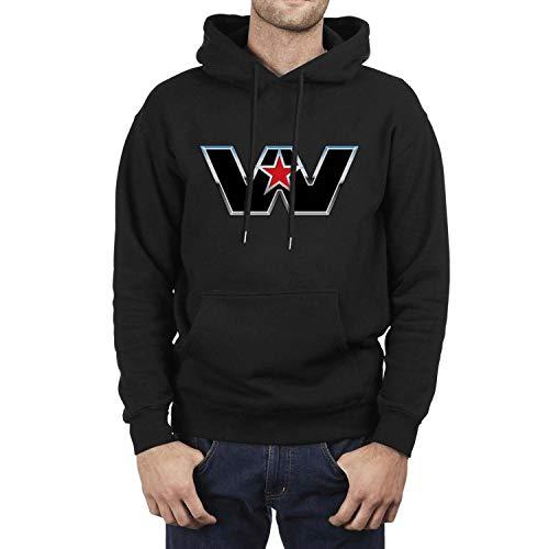 (SASIA Boys' Black Western-Star-Logo- Fleece Hooded Sweatshirt)