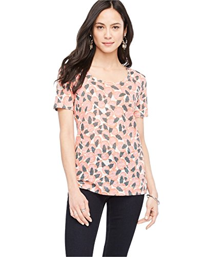 ann-taylor-womens-orange-blossom-floral-print-linen-knit-top-tee-medium