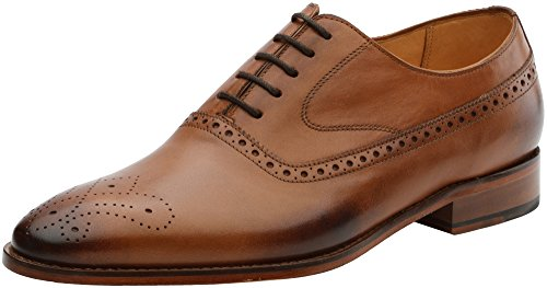 3DM Lifestyle Handcrafted Mens Genuine Leather Classic Brogue Oxford Wing-Tip Lace Up Leather Lined Perforated Dress Oxfords Shoes Tan
