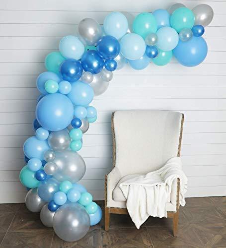 (Junibel Balloon Arch & Garland Kit | 90 Blue, Silver & Tiffany Sm to XLarge Balloons | Glue Dots | 17' Decorating Strip | Wedding, Boy Baby Shower, Graduation, Anniversary)