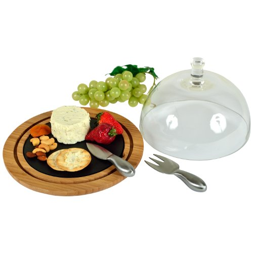 Picnic at Ascot Bamboo/Slate Cheese Dome with Hand-Blown Gla