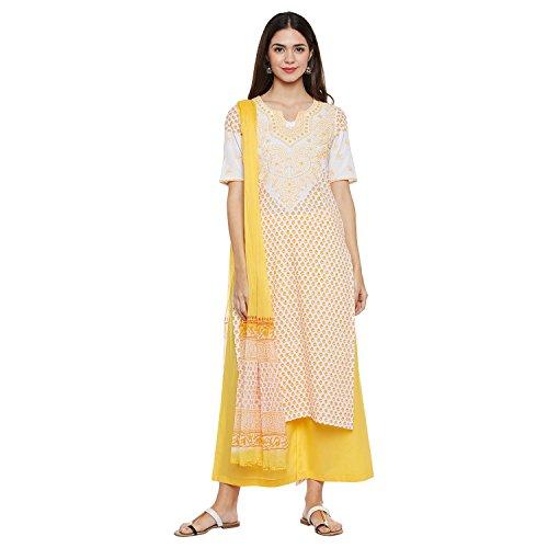 PinkShink Lucknowi Chikankari Hand Embroidered Yellow Pure Cotton Kurta Palazzo Dupatta Set psd218 (XL)