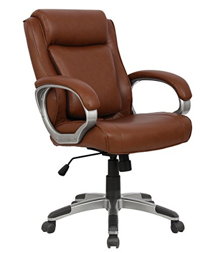 Executive Mid-Back Office Chair (05189AA) w/ Adjustable Pivoting Lumbar Support. Ergonomic Chair Racing Gaming Chair, Computer Swivel Chair w/Armrests, ProHT - Brown by ProHT