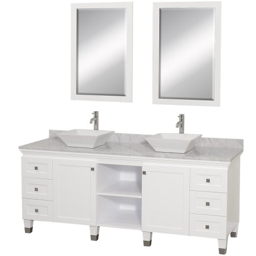 Wyndham Collection Premiere 72 inch Double Bathroom Vanity in White with White Carrera Marble Top with White Porcelain Sinks