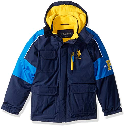 US Polo Association Boys' Toddler Stadium Parka Outerwear Jacket, Navy/Blue Tile, 3T (Parks And Recreation Polo)