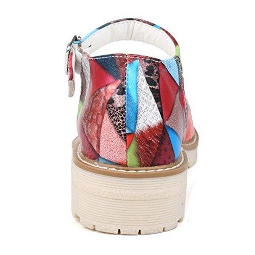 COOLCEPT Mujer Moda Tacon Ancho Bajo Cerrado Correa de Tobillo D'orsay Sandalias Multicolores