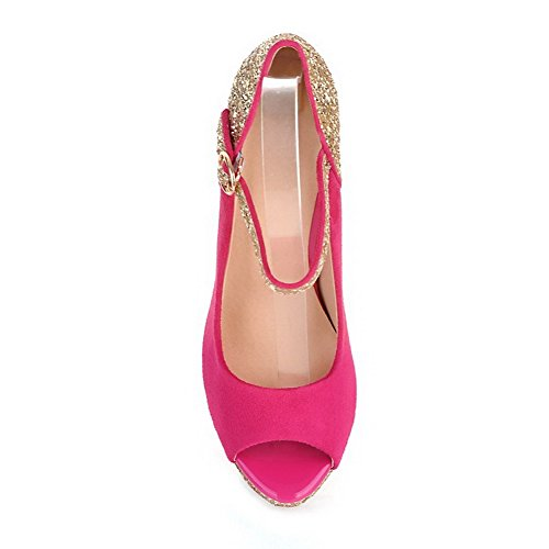 Heel PU Peep Womens Colors Toe Peach Stiletto Pumps Sequin VogueZone009 with High Assorted Open Frosted xBg4q0Bnfw