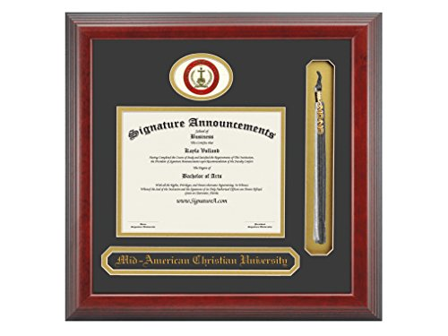 Signature Announcements Mid-America Christian University (MACU) Undergraduate and Graduate/Professional/Doctor Graduation Diploma Frame with Sculpted Foil Seal, Name & Tassel (Cherry, 16 x 16) by Signature Announcements