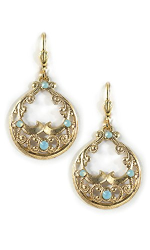 Clara Beau Gypsy Elegance Mosaic Filigree Hoop Swarovski crystal GoldTone earrings EG234 -