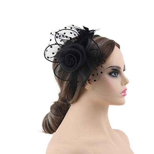 KASTE Fascinators Hat for Women Derby Wedding Women Tea Party Headband Kentuck Cocktail Flower Mesh Feathers Hair -