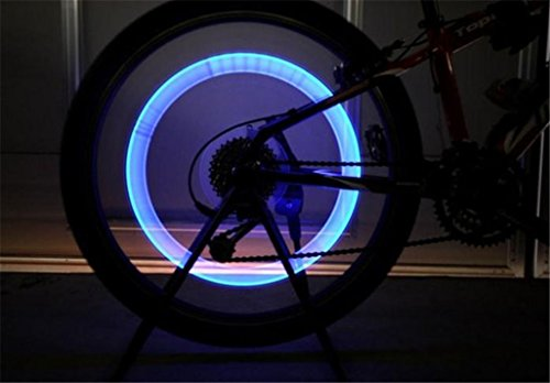 Car Tyre Light, GOTD 2pcs Bike Bicycle Motorcycle Car Wheel Tyre Tire Valve Cap LED Neon Flash Lamp Light Blue (Blue)