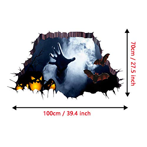 Halloween Floor Sticker PVC 3D Decorative Scary Ghost Hand Bats Wall Decal Wall Sticker Halloween Eve Decor Party Supplies Home Decoration