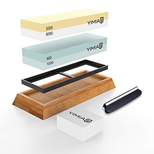 Sharpening Stone Kit, YIMIA 4 Side Grit 400/1000 3000/8000 Whetstone, Knife Sharpener Waterstone with Non-Slip Bamboo Base & Flattening Stone & Angle Guide by YIMIA (Image #6)